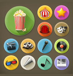 Cinema music and theater long shadow icon set vector