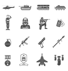 Army black white icons set vector