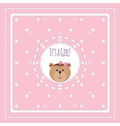 Greeting card with bears and flowers vector