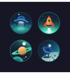 Set of space icons vector image