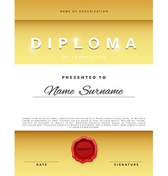 Template certificate design in gold color vector