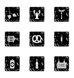 Alcoholic beverage icons set grunge style vector