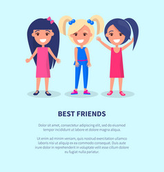 best friends three girls poster of active females vector image