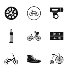 Bike icons set simple style vector
