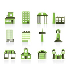 building and city icons vector image vector image