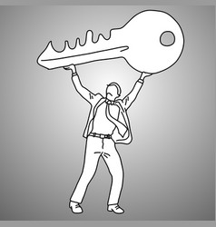 businessman holding big key over his head vector image