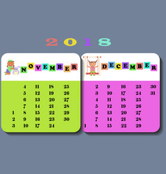 Calendar 2018 with cute children vector
