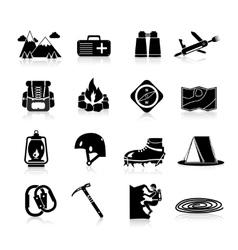 Climbing Icons Black vector image