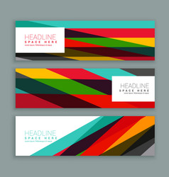 Colorful modern horizontal header and banners vector