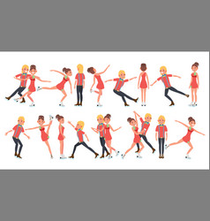 couple with ice skaters training ice show vector image vector image