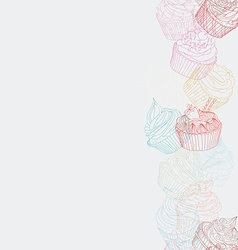 Cupcake border pattern vector image