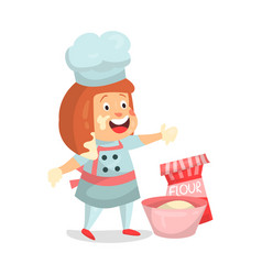 Cute cartoon little girl chef character baking vector