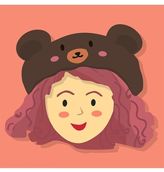 Cute curly girl with black bear hat vector