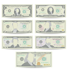 Dollars banknote set cartoon us currency vector
