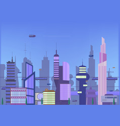 Future city flat urban cityscape vector