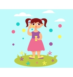 Girl and soap bubbles vector