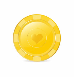 golden gambling chip with heart suit realistic vector image