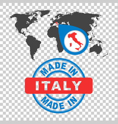 Made in italy stamp world map with red country vector