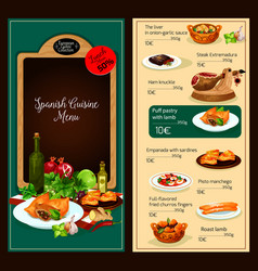Menu template of spanish cuisine restaurant vector