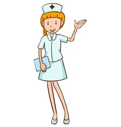 Nurse in white uniform waving vector image vector image