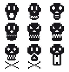 pixel skulls icon set vector image