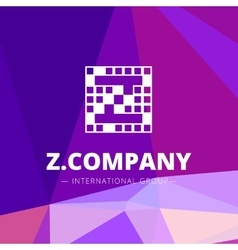 pixel style geometric Z letter logo on low vector image vector image