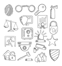Security and protection icons in sketch style vector image vector image