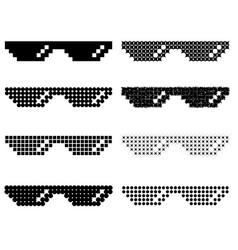 set of different pixel glasses vector image