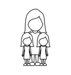 Silhouette woman her girls twins icon vector