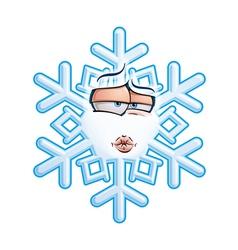 Snowflake emoticon smooch vector