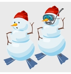 Two snowmen in red cap and with fins diver vector image vector image