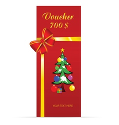voucher with christmas tree in colorful vector image