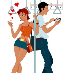 Young couple sexting on a subway vector image vector image
