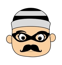 face man criminal thief stealing isolated vector image