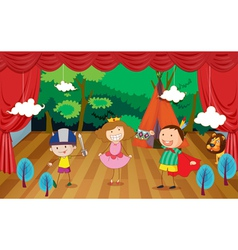 kids on a stage vector image