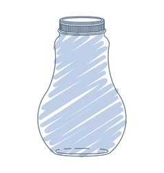 Silhouette wide glass bottle with blue stripes vector