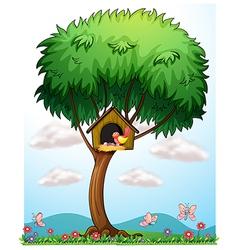 A bird in a tree with a bird house vector image