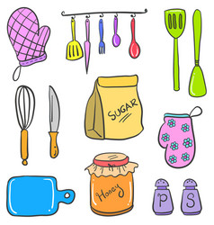 Doodle of kitchen set colorful vector