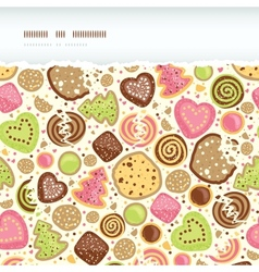 Colorful cookies horizontal torn seamless pattern vector