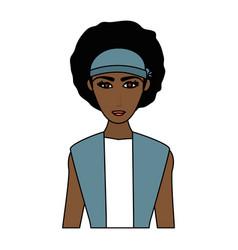 Color image cartoon half body brunette woman with vector