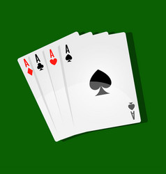 Combination of four aces on green play field vector