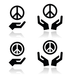 Peace sign with hands icons set vector image