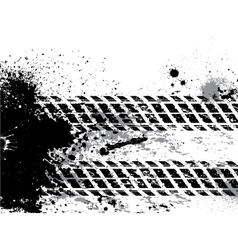 Grunge tire track background with blots vector