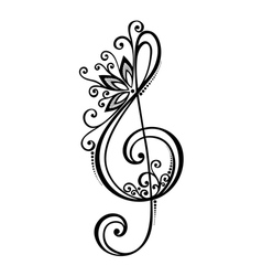 Floral decorative treble clef vector