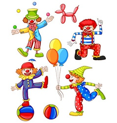 A simple coloured drawing of the four clowns vector