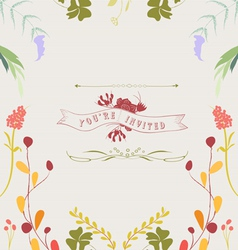 Hand drawn floral frame background vector