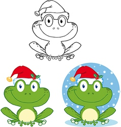 Chrismtas frog cartoon vector image
