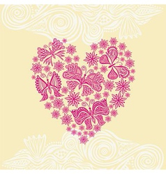 Beautiful flower and butterflies heart vector