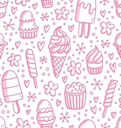 Pink ice cream seamless pattern vector