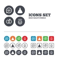 Wedding dress icon bride and groom rings symbol vector